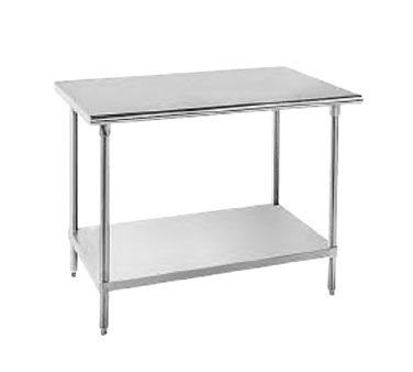 Advance Tabco SS-242 Flat bullnose-edged work table with a SS undershelf; 24''L, 400 lb capacity by Advance Tabco