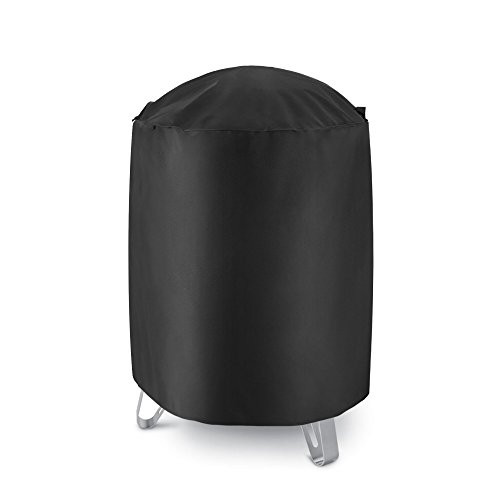 """SunPatio Heavy Duty Waterproof Smoker Cover 30"""" Dia. x 36"""" H, Outdoor Round Kettle Grill Cover, Pit Barrel Cooker Cover, All Weather Protection for Weber, Char-Broil and More Grills, Black"""