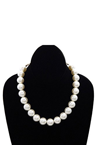 Womens Glossy Round Large Pearl Linked Fashion Strands Necklace YS221 (Cream) Cream Round Necklace