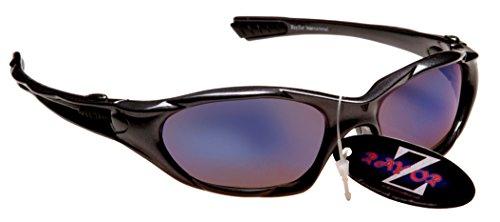 Rayzor professionnel léger UV400 Gun Metal Gris Sport Wrap cricket Lunettes de soleil, avec un bleu fumé antireflet des verres