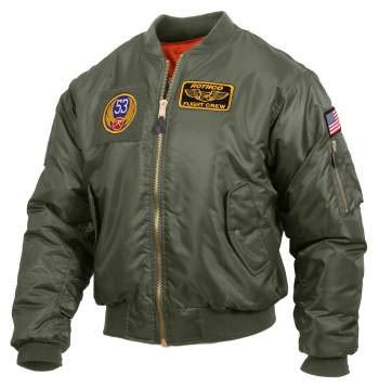 Top Gun Jacket (Rothco MA-1 Flight Jacket with Patches, Sage Green,)