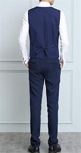 Domple Men's Buttons Vest Three Pieces Office Blazer with Pants Outfit Set Dark Blue 3XL by Domple (Image #1)