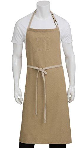 Chef Works Unisex Austin Chefs Bib Apron, Natural, One -