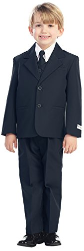 Avery Hill 5-Piece Boy's 2-Button Dress Suit Full-Back Vest - Navy Blue S (3-6 Months)