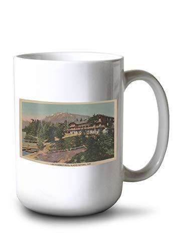 - Lantern Press Glacier National Park, MT - Lake McDonald Hotel View (15oz White Ceramic Mug)