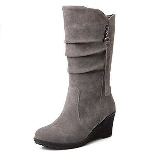 DETAIWIN Womens Mid-Calf Wedge Boots Fashion Pleated Tassel Slip-On Comfortable Winter Warm Walking Boots