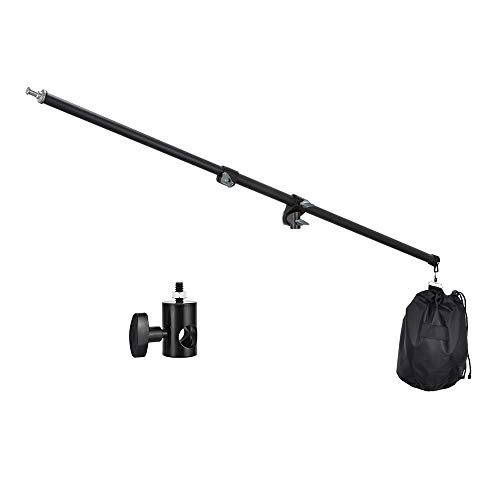 Boom Arm Tripod - UTEBIT Professional Boom Arm Adjustable 80-140cm Reflector Holder Arms 4.6ft Frosted Overhead Camera Holding Light Stand with Sandbags 360 Swivel Head for Photo Video Studio (Light Stand Not Include)