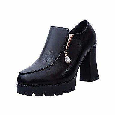 Botas de la mujer confort PU Primavera Casual plana negra roja Black