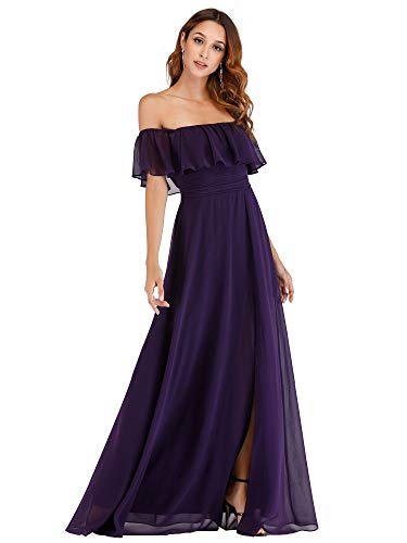 Women's Cold Shoulder Side Split Chiffon Wedding Bridesmaid Dresses Purple US12