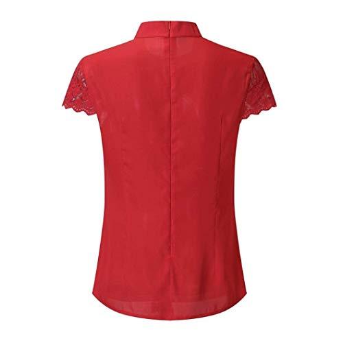 Dentelle Chemisier avec De Et Col Elgante Mode Style Manches Femme pissure Chemise Qualit Bonne Rouge Fit clair Uni Courtes Fermeture Slim Shirt Spcial Rond Trous Blouse Branch Top Manche PqgwP