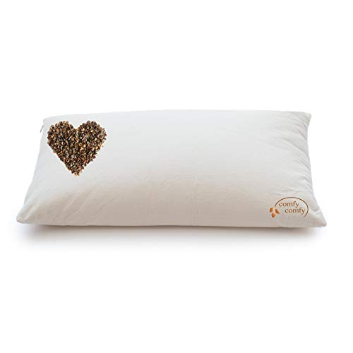 "ComfySleep Classic Size Buckwheat Hull Pillow + 1 lbs Extra buckwheat Hulls 100% Made in USA (14""x23"