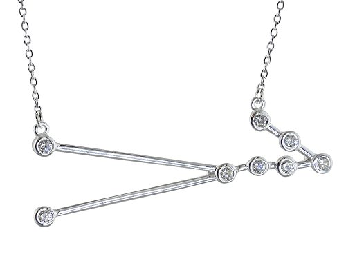 Sterling Silver Cubic Zirconia Taurus Constellation Pendant Necklace, 18