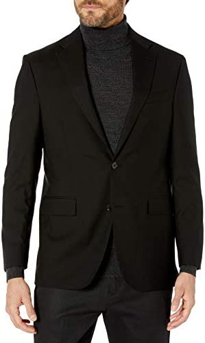Kenneth Cole New York Men`s Performance Stretch Wool Suit Separates-Custom Top and Bottom Size Selection Extreme Black Jacket 42S