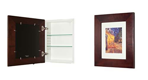 13x16 Espresso Concealed Medicine Cabinet (Regular), a Recessed Mirrorless Medicine Cabinet with a Picture Frame Door