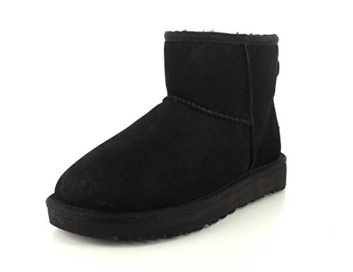 UGG Women's Classic Mini ll Twinface Sheepskin Suede Boot, Black, 7