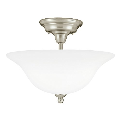 (Sea Gull Lighting 75061-962 Sussex Three-Light Semi-Flush Mount Ceiling Light with Satin White Glass Shade, Brushed Nickel Finish)