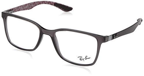 Ray-Ban RX8905 Square Eyeglass Frames, Transparent Grey/Demo Lens, 55 ()
