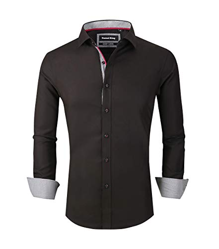 - Casual King Mens Dress Shirts Wrinkle-Free Long Sleeve Slim Fit Button Down Formal Shirt (Black,XXLarge)