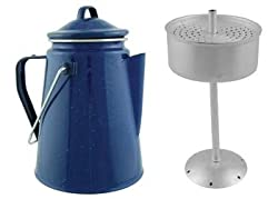 Camping Blue Enamel Coffee Pot with Perculation by Durable Camping Coffee Pot
