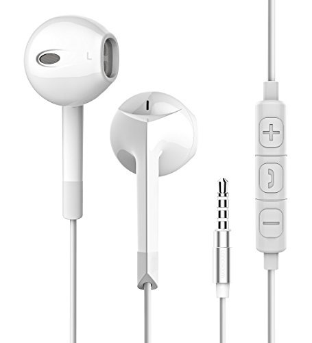in Ear Earbud with Mic, Stereo Bass Earphones with Remote Control & Microphone Compatible with iPhone, iPad, Samsung, Android 4.0, MP3 & MP4(White)