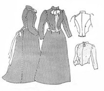 Victorian Sewing Patterns- Dress, Blouse, Hat, Coat, Mens 1889 Bustle Skirt & Bodices Pattern (Size- Large 18-22) $16.25 AT vintagedancer.com