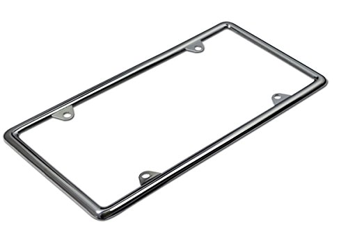 Motorup America Auto License Plate Frame Thin Cover - Fits Select Vehicles Car Truck Van SUV - Silver