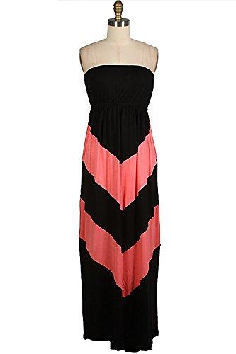 Popular Basics Black and Coral Long Women's ZigZag Chevron Sleeveless Maxi Dress Medium