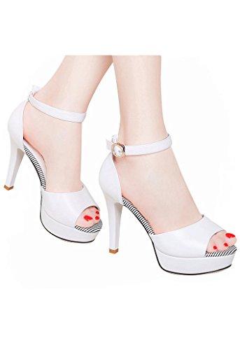 Moolecole - Sandalias de vestir de Piel Vuelta para mujer negro negro blanco