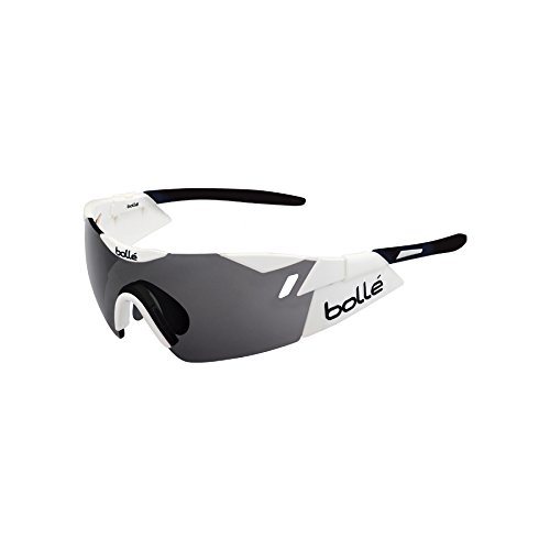 Bolle 6th Sense Sunglasses, Shiny White/Black Modulator Clear Gray Oleo - Rx Bolle Sunglasses