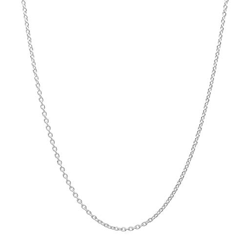 (14K White Gold 2.5mm Diamond Cut Anchor/Cable Chain Necklace -Made in Italy)