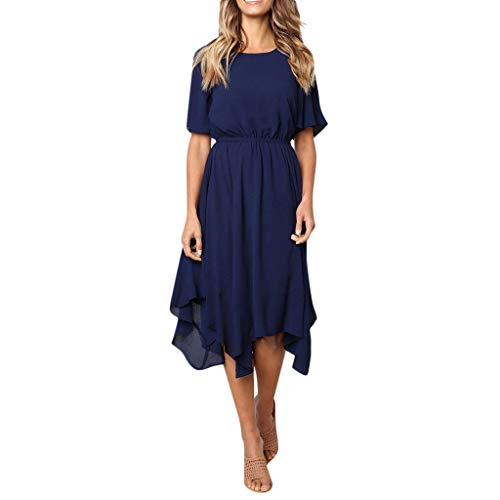 (DIOMOR HitItems Fashion Short Sleevel Pure Color Swing Dress Casual O Neck Conservative Shift Dresses Slim Fit Skirt Navy)