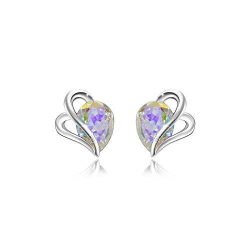 Blue Crystal Silver Earrings Studs for Girls, Swarovski Element Women White Gold Plated 925 Sterling Silver Heart Love Knot Ear Studs (heart studs AB) ()
