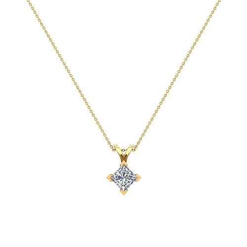 0.42 ct tw I1 G Natural Princess Cut Diamond Solitaire Pendant Necklace 14K Yellow Gold - Princess 14k Natural Diamond Solitaire