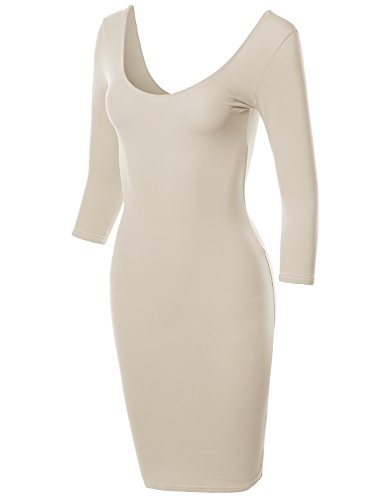 Back Body Con Dress - Awesome21 Basic Solid Deep Scoop Back-Neck 3/4 Sleeve Body-Con Dress Taupe Size S