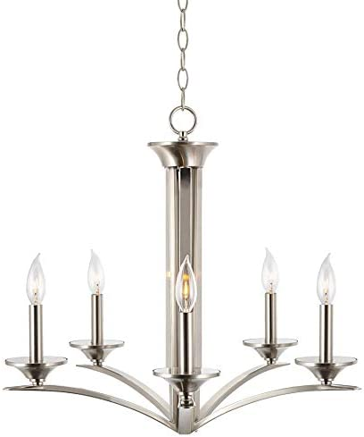 Kira Home Albany 25 Contemporary 5-Light Chandelier Lighting Fixture, Adjustable Hanging Height, Brushed Nickel Finish