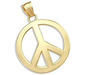 14k yellow gold peace symbol sign charm