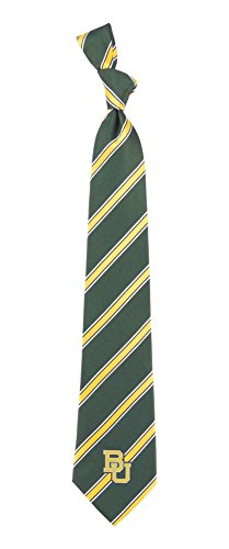 Baylor Bears Striped Neck Tie with NCAA College Sports Team Logo