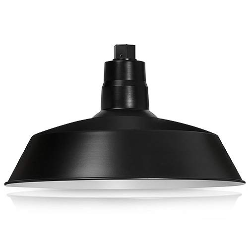 14in. Satin Black Outdoor Gooseneck Barn Light Fixture with 22in. Long Extension Arm - Wall Sconce Farmhouse, Vintage, Antique Style - UL Listed - 9W 900lm A19 LED Bulb (5000K Cool White) by HTM LIGHTING SOLUTIONS (Image #1)