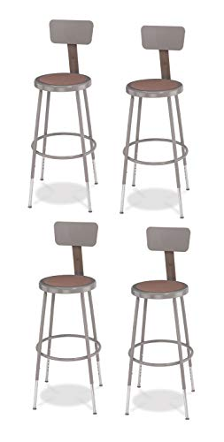 (National Public Seating 6224HB-CN Steel Stool with Hardboard Seat Adjustable and Backrest, 25