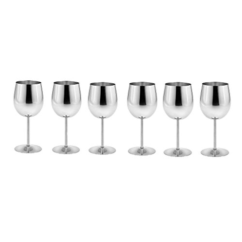 King International Stainless Steel Wine Glass Champagne Goblet Cup Drinking Mug SET OF 6 PIECES by King International