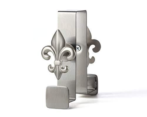 Door Hook, Over The Door Hook, Door Top Hook 2-Sided Stainless Steel Designer Knobs (Fleur-DE-LIS) (Fixture Bath De Lis Fleur)