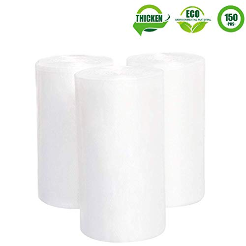 1.2 Gallon Clear Garbage Bags, Aijoso Small Trash Bags 4.5-Liter Durable Disposable Trash Wastebasket Bags Can Liners for Office, Home Waste Bin, Bathroom, Kitchen (Clear, 150 Counts/ 3 -