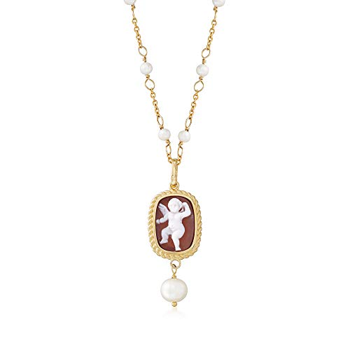 Ross-Simons Italian Cultured Pearl Angel Shell Cameo Station Necklace in 18kt Gold Over - Clasp Jewelry Cameo Shell
