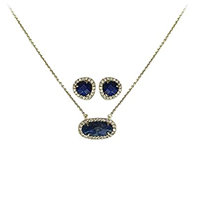 Wholesale Kitsch Guiding Gems Semi-Precious Stone Pendant Necklace & Earring Set, 14K Gold Plated Sterling Silver & Pave CZ hot sale