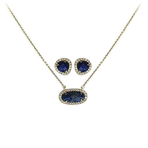 Kitsch Guiding Gems Semi-Precious Stone Pendant Necklace and Earring Set, 14K Gold Plated Sterling Silver & Pave Cubic Zirconia (Lapis) by Kitsch