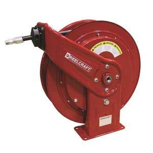 Reelcraft HD78050 OMP Heavy Duty Spring Retractable Hose Reel, 1/2'' x 50', 3000 Psi, Oil Hose Included by Reelcraft