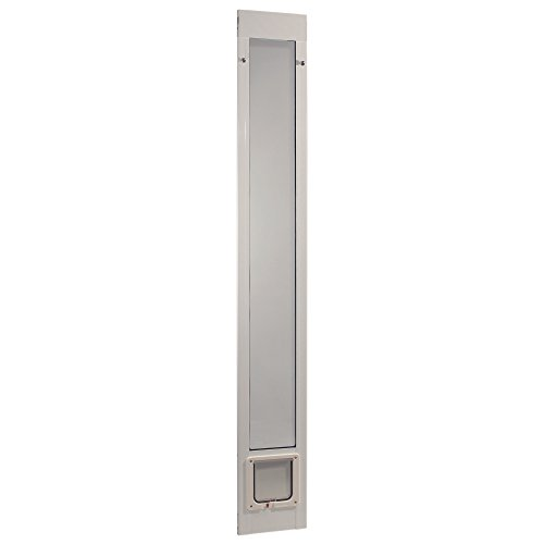 "Ideal Pet Products 80"" Fast Fit Aluminum Pet Patio Door, Cat Flap, 6.25"" x 6.25"" Flap Size, White from Ideal Pet Products"
