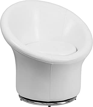 Flash Furniture Melrose White Leather Swivel Lounge Chair