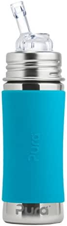 Pura Kiki 11 oz / 325 ml Stainless Steel Straw Bottle with Silicone Straw & Sleeve, Aqua (Plastic Free, NonToxic Certified, BPA Free)