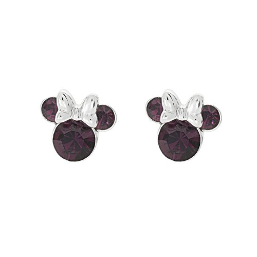 Disney Women's Jewelry Minnie Mouse Silver Plated Brass February Birthstone Stud Earrings Mickey's 90th Birthday Anniversary Classic Mickey Mouse Earrings